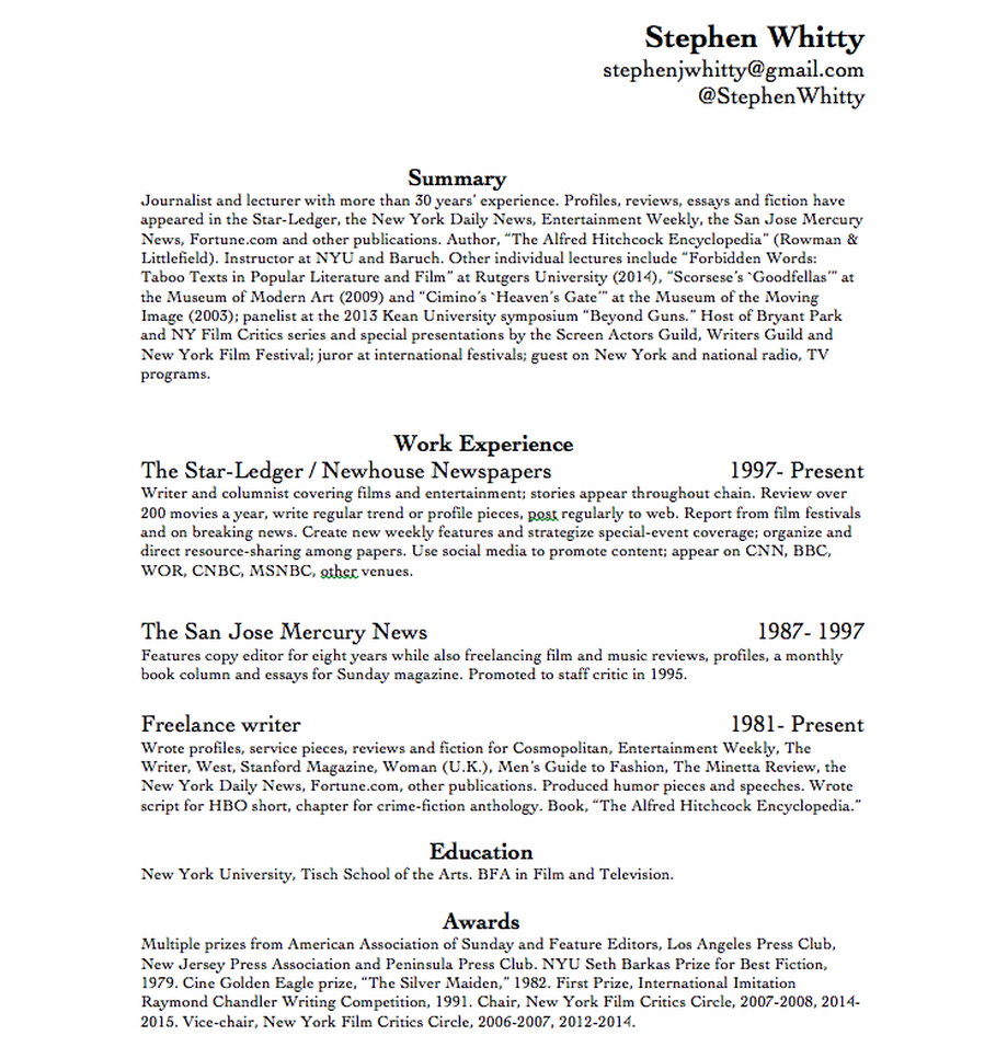 resume stephen j whitty picture